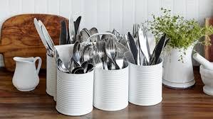rangement pour ustensiles cuisine faire un support à ustensiles avec des boîtes de conserve de