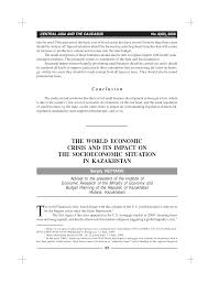 the world economic crisis and its impact on the socioeconomic