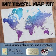 World Map Poster With Pins by Diy Vibrant Violet World Push Pin Travel Map Kit Push Pin Travel