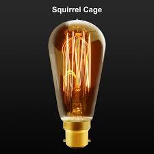 b22 bayonet filament vintage edison style squirrel cage lamp light
