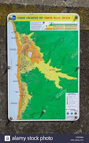 Oregon Beaches Map by Tsunami Evacuation Map For Cannon Beach Oregon Stock Photo
