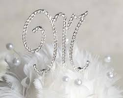 monogram cake toppers swarovski crystals monogram cake topper with silver initial