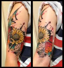 shoulder sunflower compass tattoo by live two best tattoo ideas