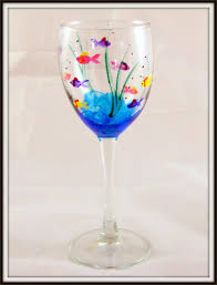 Wine Glass Decorating Ideas Painted Wine Glasses Ideas Hand Painted Fish Wine Glass Glass
