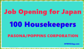 hiring a housekeeper housekeeper job opening for japan ofw hiring