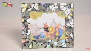 how to make a mosaic photo frame with cd diy art u0026 craft videos