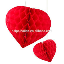 Paper Decoration For Valentine Day by Red Honeycomb Heart Shaped Hanging Paper Decorations For