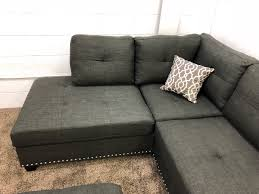 Chaise Lounge Sectional Sofa 1 In Stock N753r 250 Black Linen Studded Linen Sectional