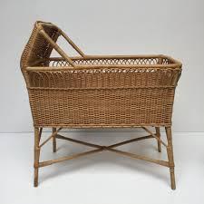 vintage rattan wicker baby cot crib lit bebe couffin berceau