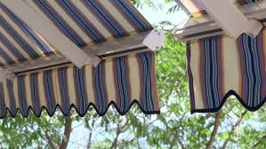 Contemporary Retractable Awnings Detail Of Modern Retractable Striped Awnings Over Sunny Blue Sea