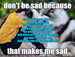 Sad Animal Memes - don t be sad because that makes me sad i has a hotdog dog