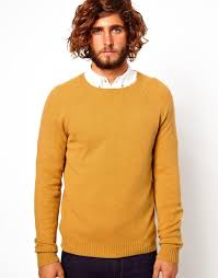 sweater in lyst penfield asos lambswool rich sweater in yellow for