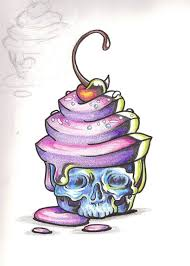 horror cake by shadowkeeper1327 cherry skull cupcake color