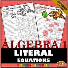 writing literal equations coloring activity equation algebra