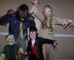 family group halloween costumes movie monsters wolf man mummy