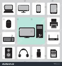 set technology icons computer hardware gadgets stock vector