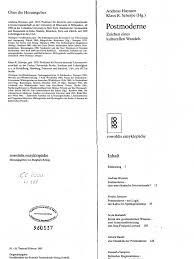 Impuls K Hen Andreas Huyssen Hrsg Postmoderne Zeichen Eines Kulturellen