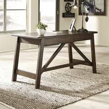 Rustic Home Office Furniture Ashley Furniture Baldridge Home Office Large Leg Desk In Rustic