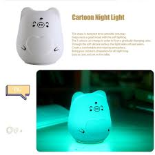 lovely cartoon design usb rechargeable led night light silicone 7