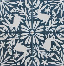Temporary Wallpaper Tiles by Eleanor Grosch Otomi Tile Flora Fauna One Color Pinterest
