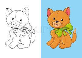 vector illustration cute red kitten with green bow for coloring
