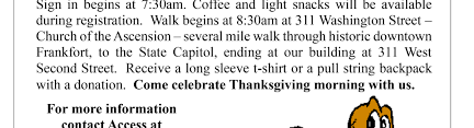 20th annual thanksgiving walk of awareness for frankfort s access