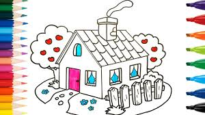 drawing and coloring house and trees for kids k coloring pages