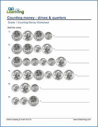 grade 1 math worksheet counting money dimes and quarters k5