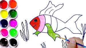 draw and coloring fish painting pages for kids learn colors