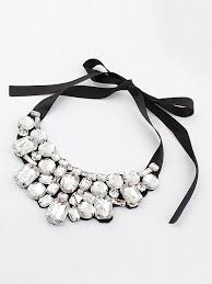 rhinestone collar necklace images White crystal rhinestone collar necklace with silk tie choies jpg