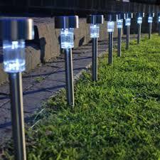 outdoor garden led solar powered light path yard landscape lamp