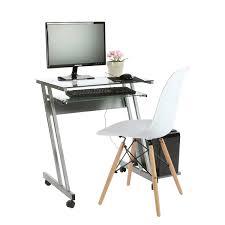 Glass Top Computer Desks For Home Furniture Clear Glass Top Mobile Computer Desk With Steel Frame