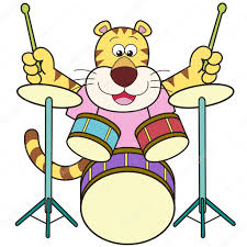 cartoon tiger playing drums u2014 stock vector kchungtw 22350951