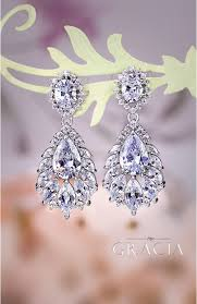chandelier wedding earrings melaina chandelier wedding dangle drop cz vintage style
