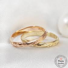 2mm ring 14k gold 2mm ring with hawaiian engraved floral design
