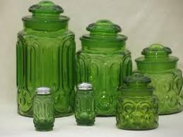 glass kitchen canister set green glass moon pattern kitchen canisters vintage
