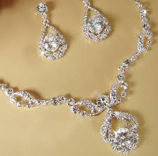 elegant necklace set images Elegant diamante bridal jewelry set silver rhinestone necklace jpg