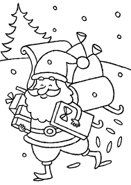happy santa claus delivering presents christmas coloring pages for