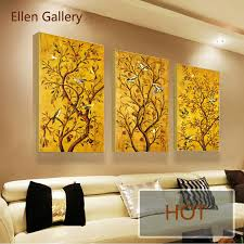 3pieces golden tree modern art canvas painting wall pictures for