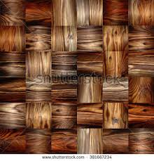 Wood Interior Wall Paneling Decorative Wooden Bricks 3d Wallpaper Interior Stock Illustration