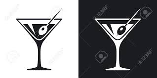 martini silhouette vector martini glass icon two tone version on black and white