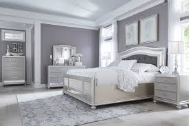 ashley coralayne bedroom collection coralayne 4 piece upholstered panel bedroom set in silver