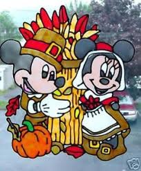 mickey minnie thanksgiving faux stained glass window cling ebay