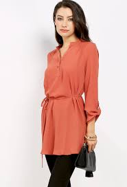 belted blouse belted tunic w back crochet detail shop blouse shirts at