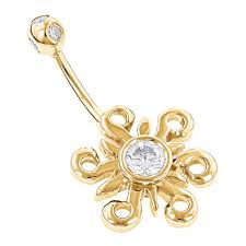 belly button rings 14k gold belly ring sun 0 77