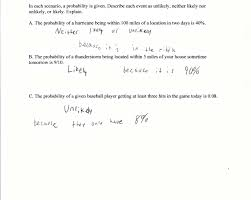 Probability Independent Events Worksheet Likely Or Unlikely Students Are Asked To Determine The Likelihood