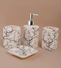 Porcelain Bathroom Accessories Sets Buy Go Hooked Cream Ceramic 4 Piece Bathroom Set Online