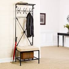 storage entryway bench with coat rack and shoe storage coat and