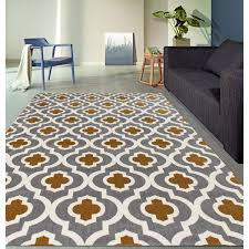 Yellow Area Rug 4x6 Moroccan Trellis Pattern High Quality Soft Dark Gray Yellow Area