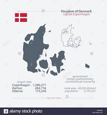 kingdom of denmark isolated maps and official flag icon vector